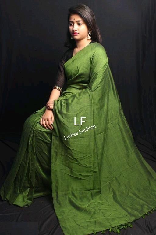 Affordable Green Khadi Cotton Solid With Tassels Regular Saree