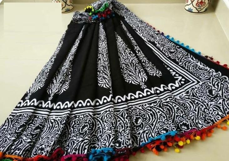 Elegant Black Cotton Printed Regular Sarees