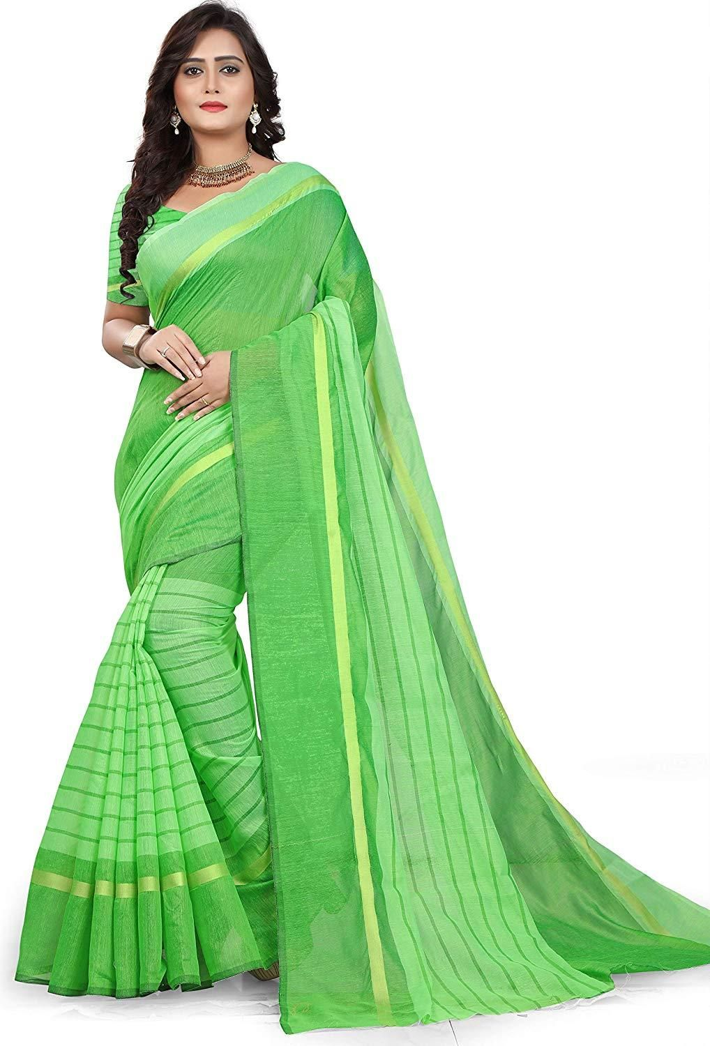 Stunning Parrot  Cotton Solid With Stripes Regular Saree