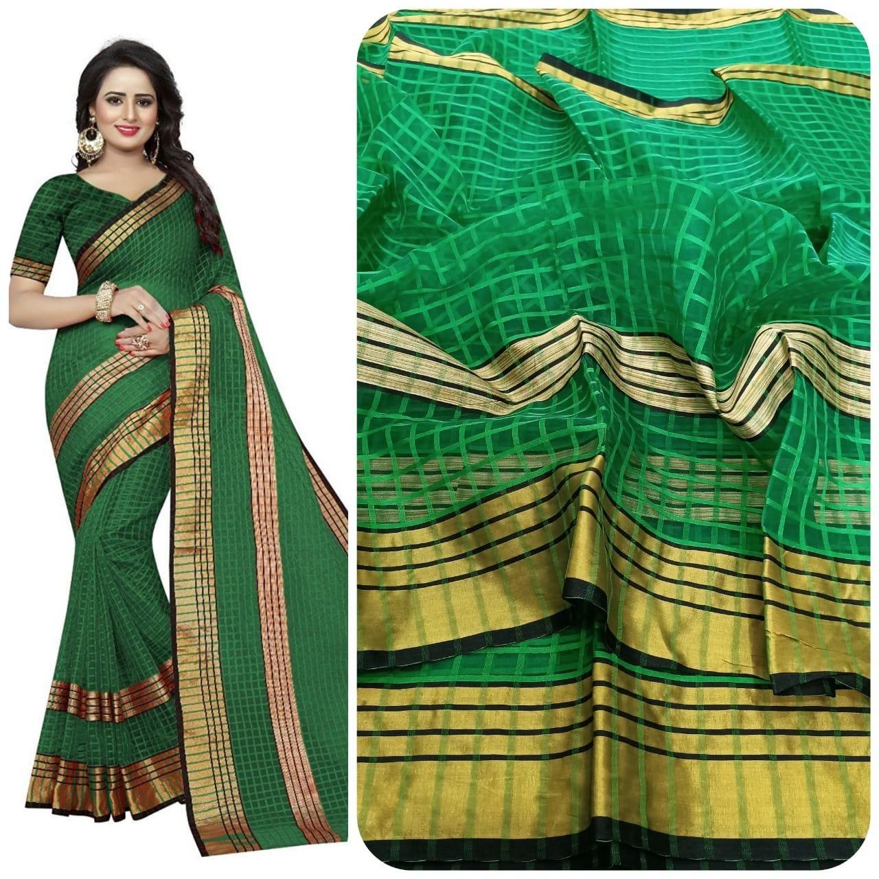 Unique Green Poly Cotton Checks With Zari Stripes Saree