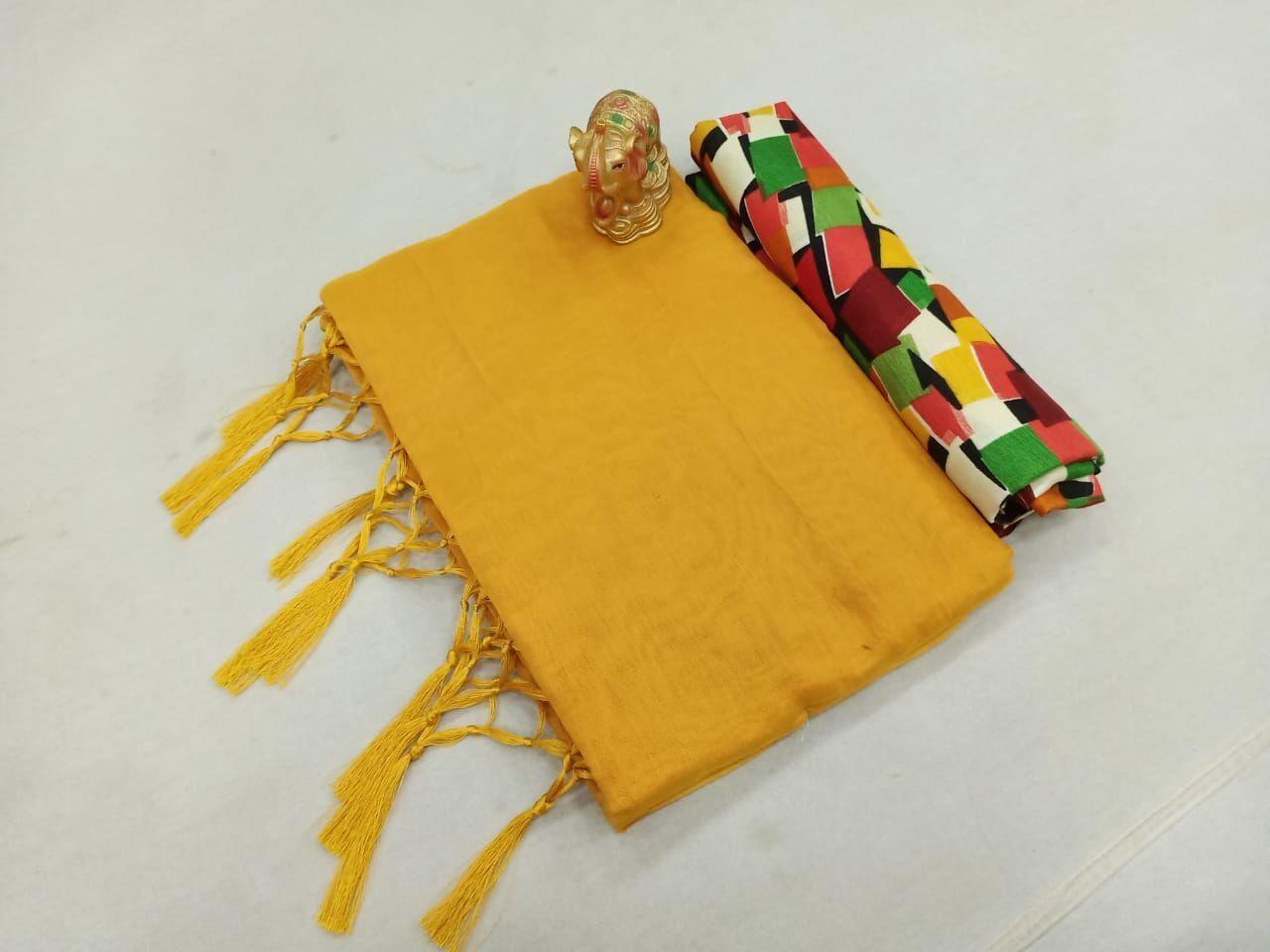 Fabulous Chanderi Cotton Solid With Jhalar Regular Mustard Saree