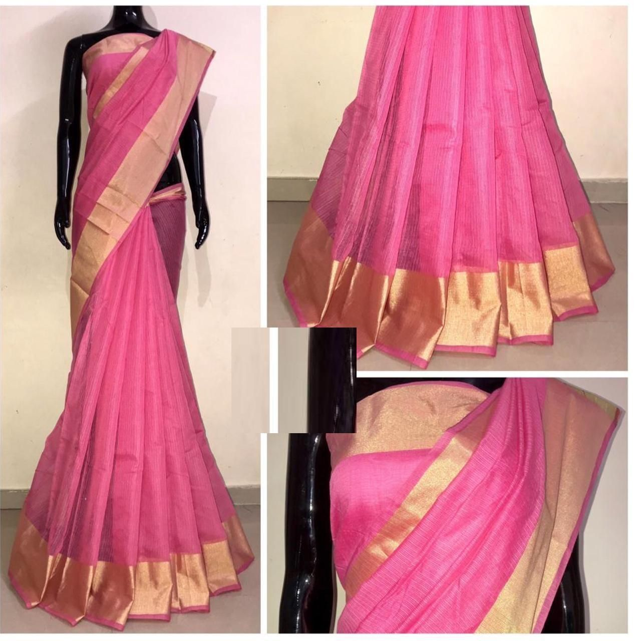 Chanderi Pink Satin Silk Printed Regular Saree