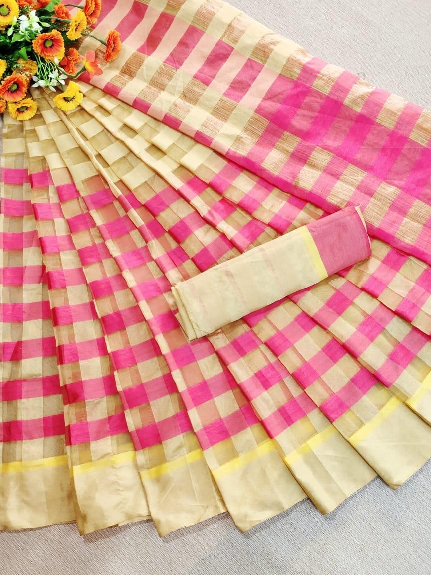 Traditional Crme Pink Cotton Silk Strips Saree