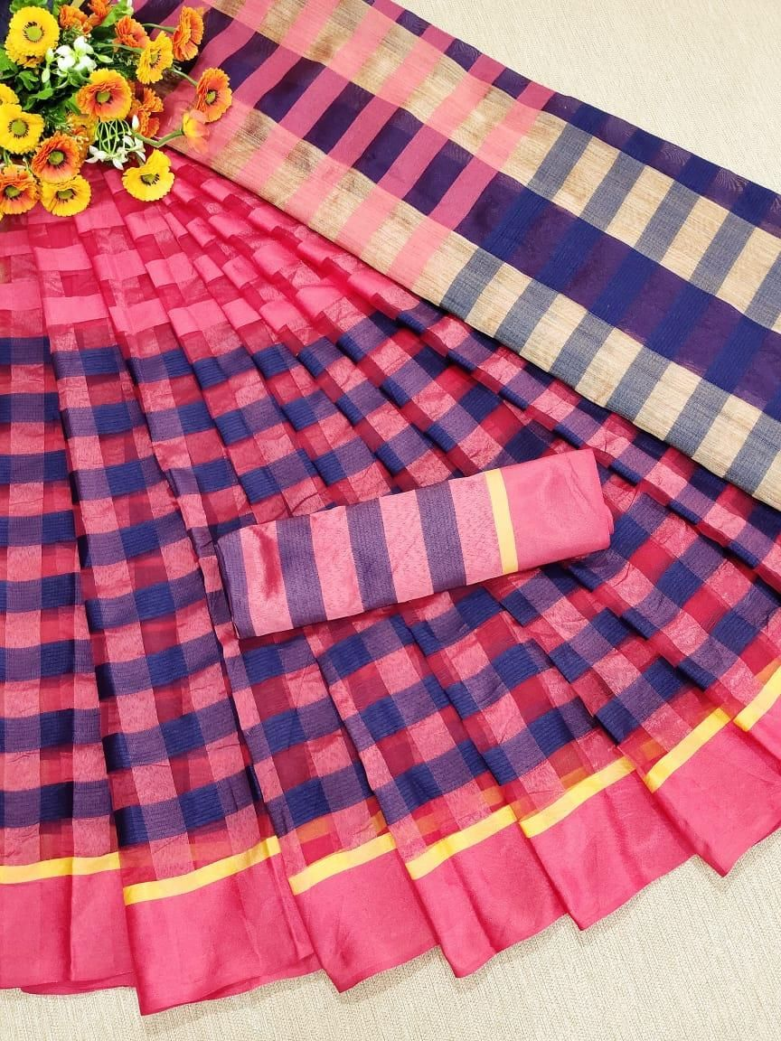 Traditional Blue Pink Cotton Silk Strips Saree
