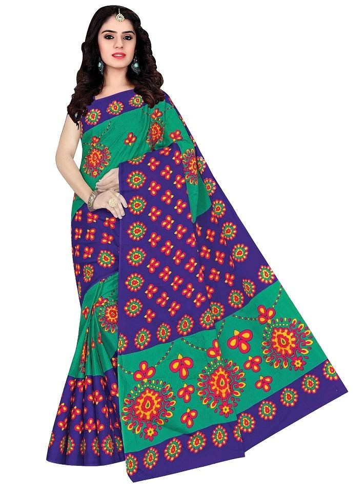 Women's Valuable Royal Cotton Printed Regular Saree With Blouse Piece