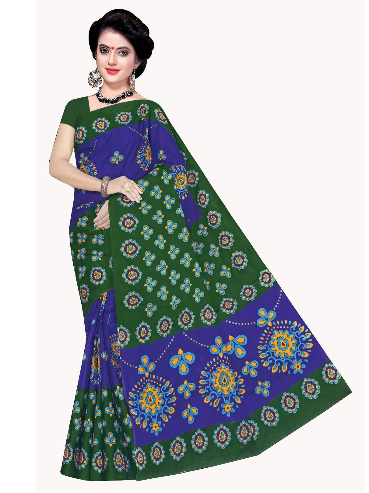 Women's Valuable Green Cotton Printed Regular Saree With Blouse Piece