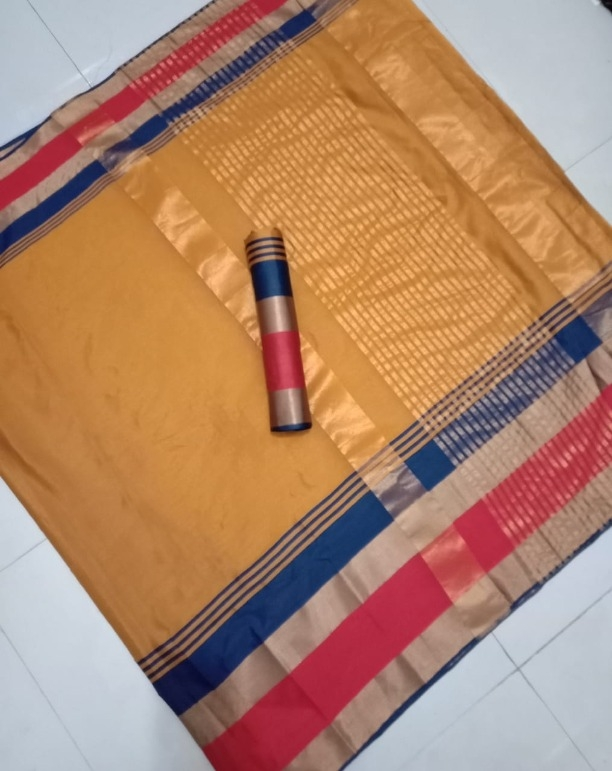 Affordable Yellow Cotton Saree