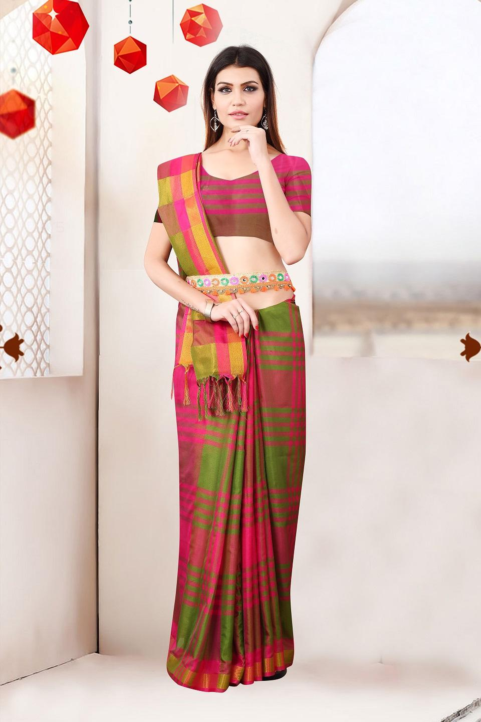 Sana Silk Checks Printed With Jhalar Regular Saree