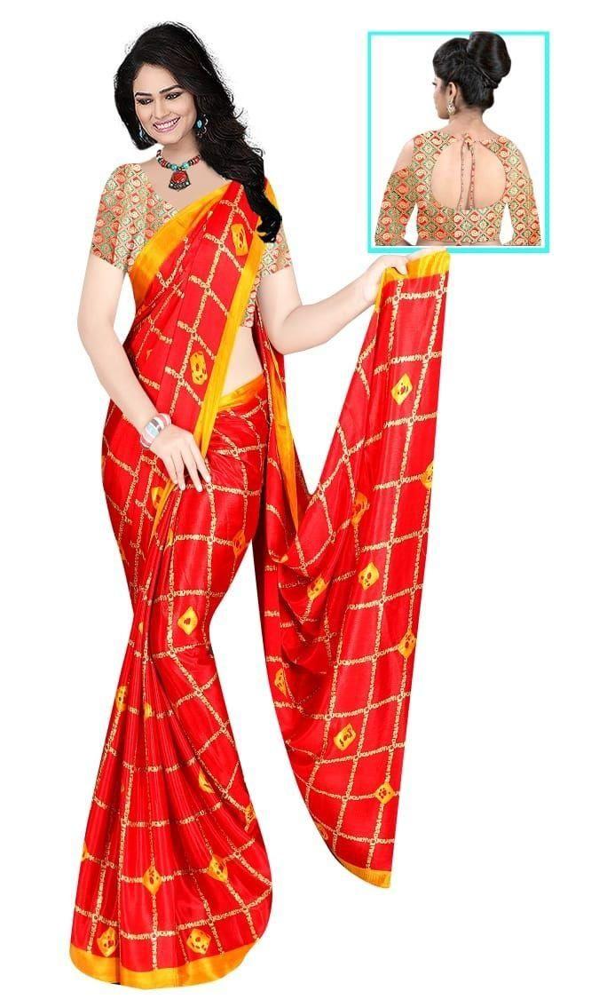 Glamorous Orange Silk Checks Print Saree