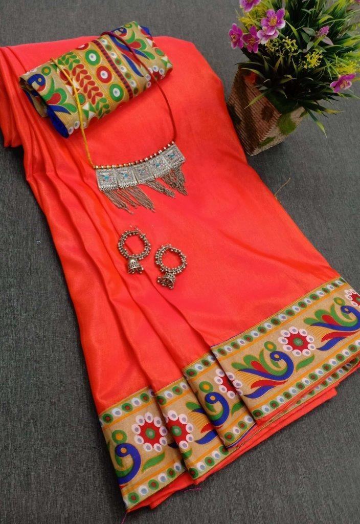 Latest Orange Sana Silk Solid With Printed Border Regular Saree