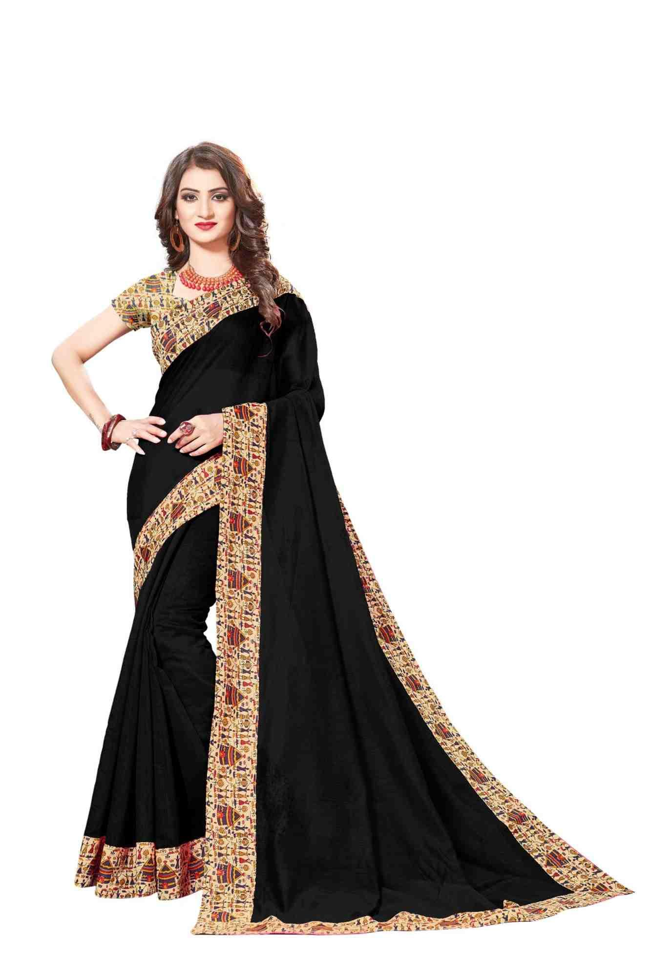 Queen's Gorgeous Red Chanderi Lace Border Regular Saree