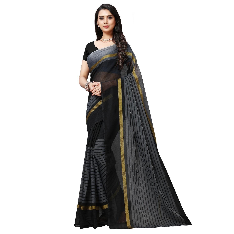 Stunning Black Cotton Solid With Stripes Regular Saree