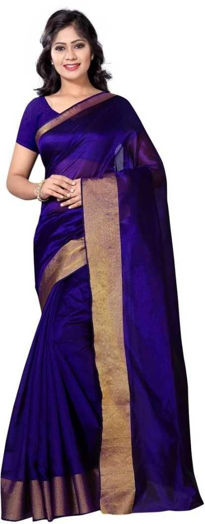 Authentic Dark Blue Poly Cotton Solid With Border Saree