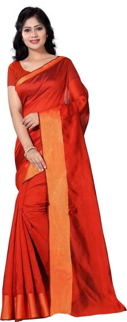 Authentic Orange Poly Cotton Solid With Border Saree