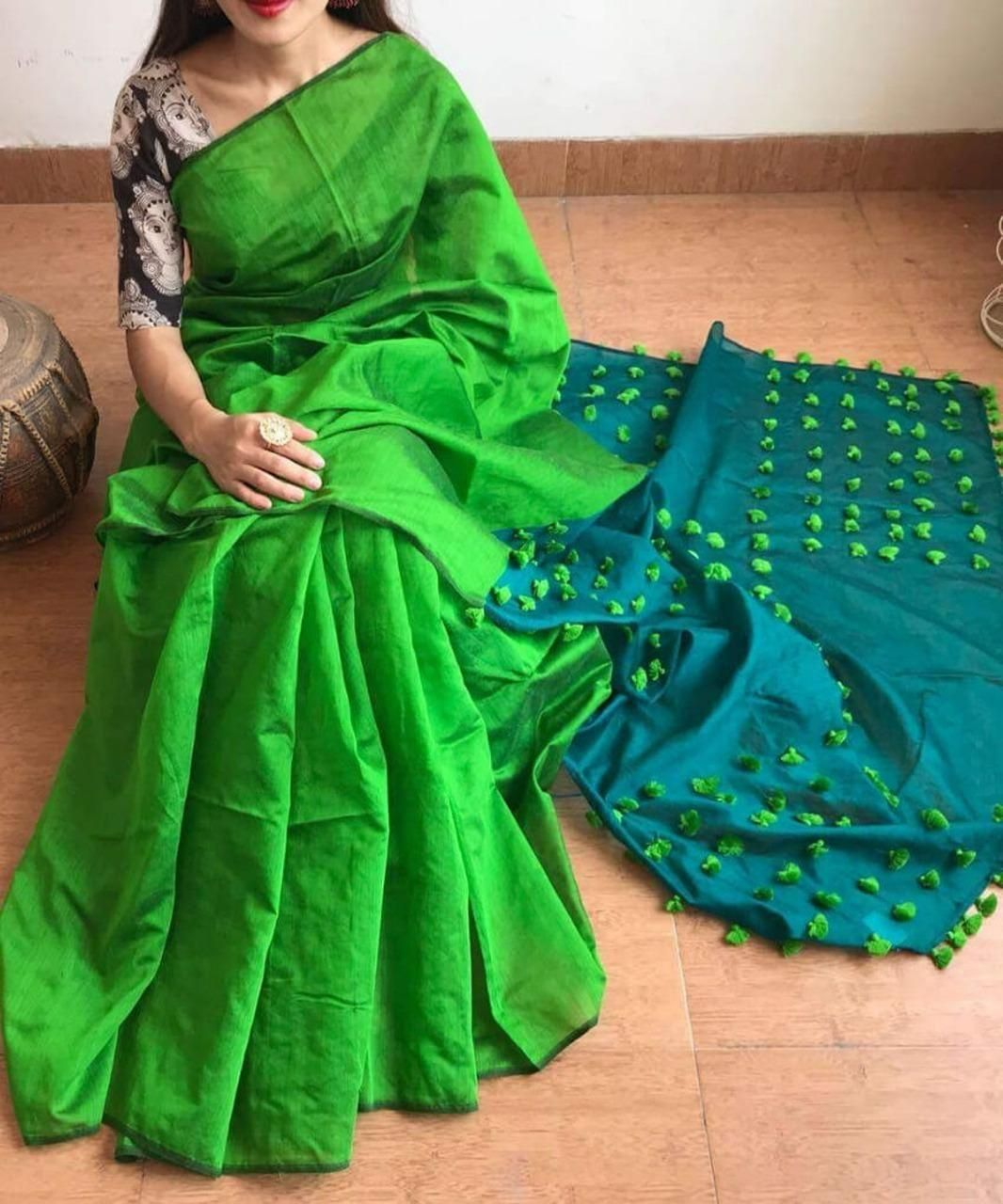 Handwoven Green Cotton Silk Sarees with Pompom Work with printed blouse