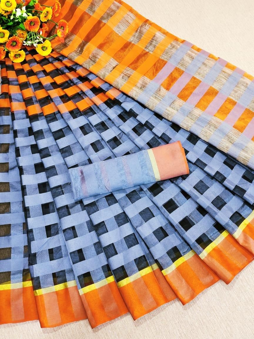 Traditional Sky Black Cotton Silk Strips Saree