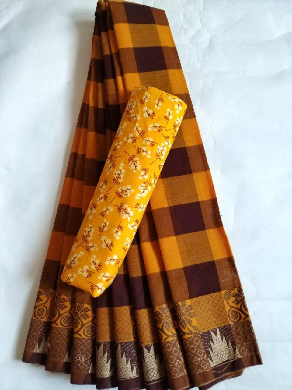Affordable Cotton Yellow Checks With Woven Border Saree