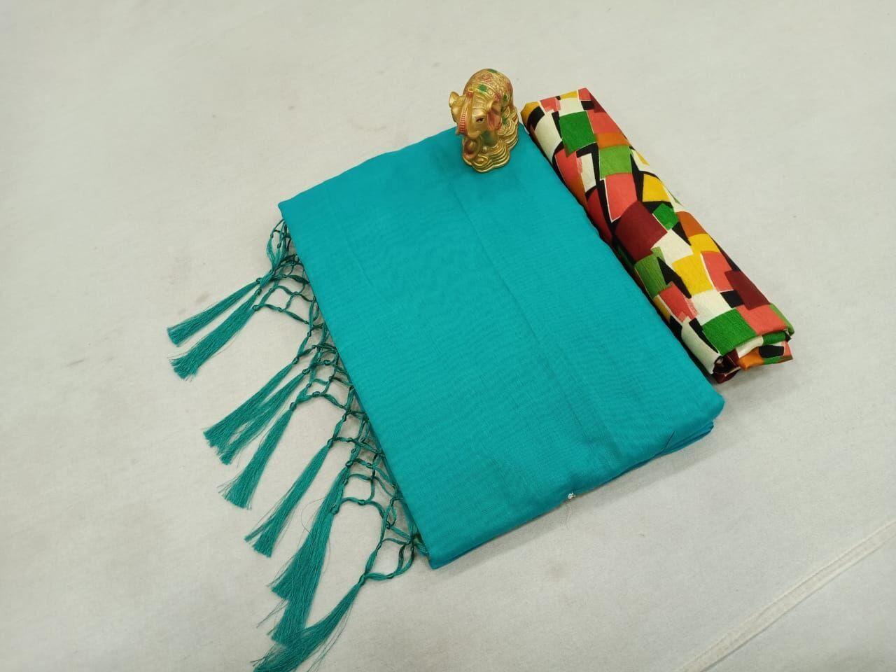 Fabulous Chanderi Cotton Solid With Jhalar Regular Sky Saree