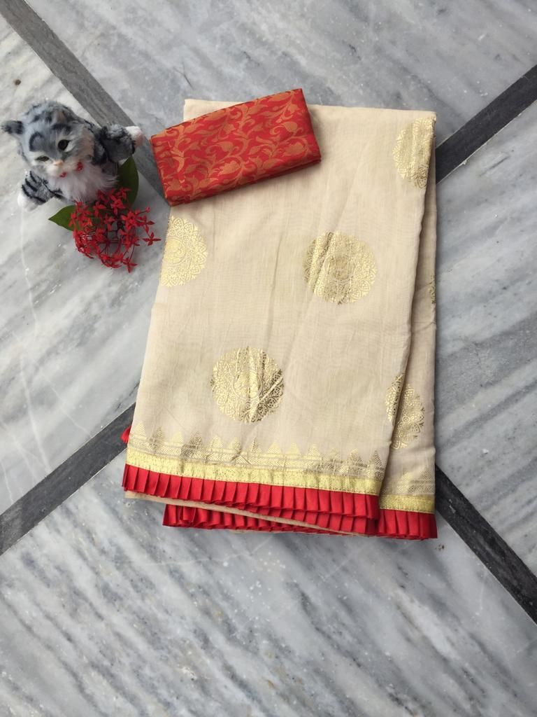 Adorable Off White Chanderi Cotton Jacquard Work With Contrast Colour Pleated Border Regular Sarees