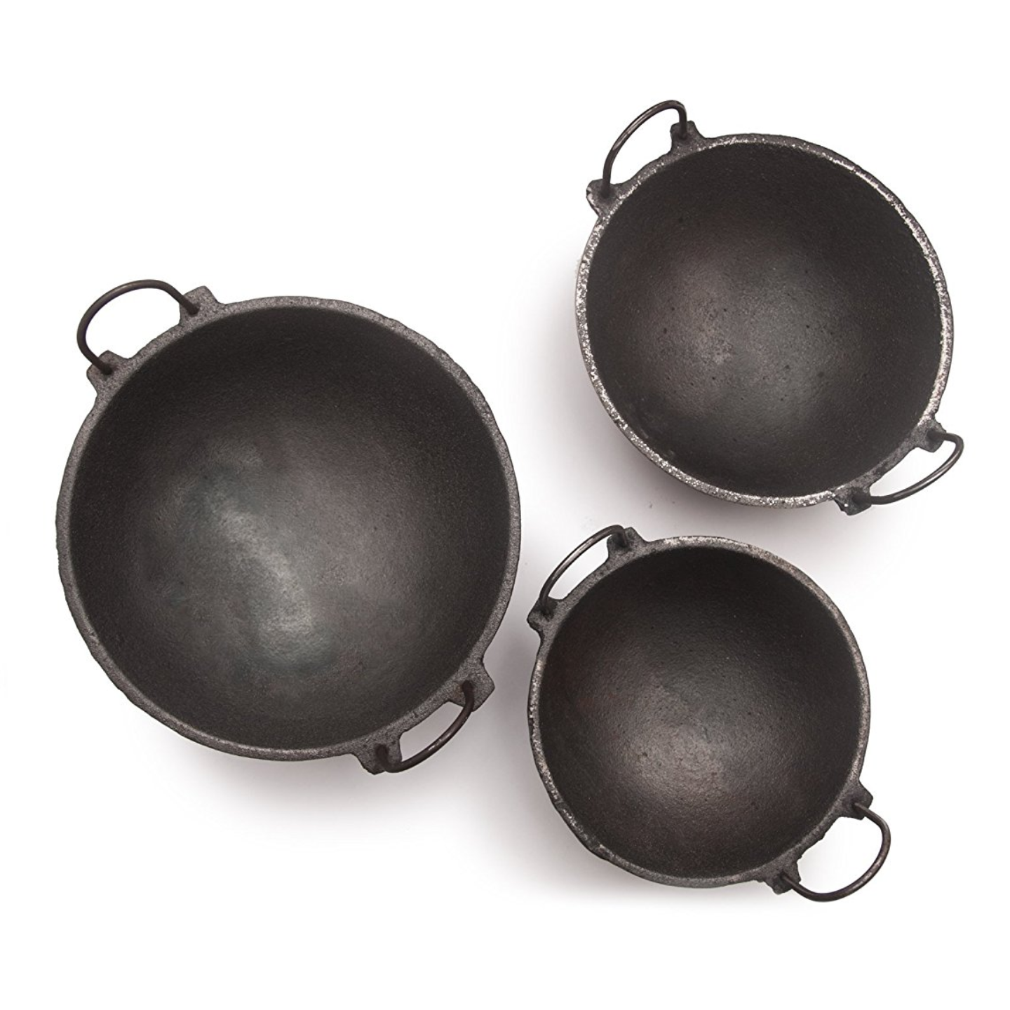 Cast Iron Kadai Combo: 3 Kadais Of 3 Sizes (7 Inches, 8.5 Inches And 11 Inches Diameter)
