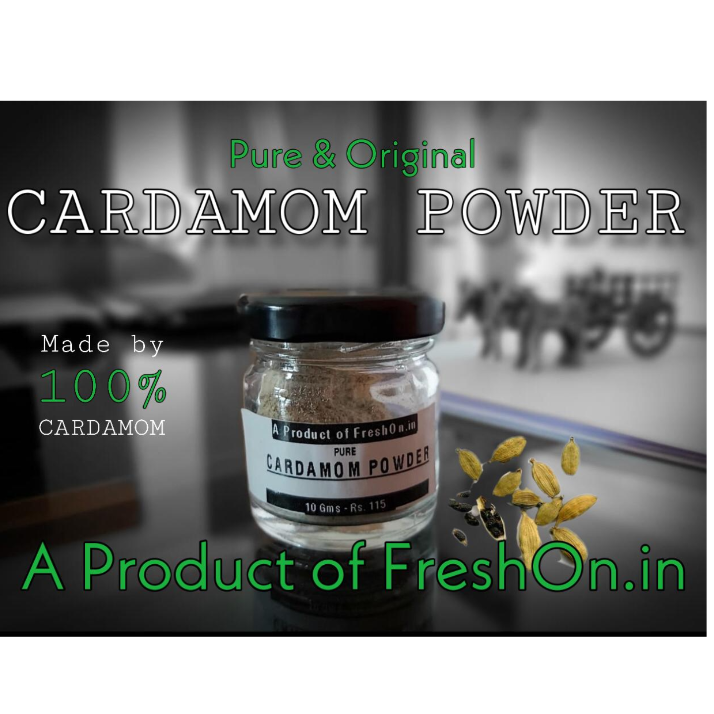 CARDAMOM Powder (PURE) - 10 Gms Bottle