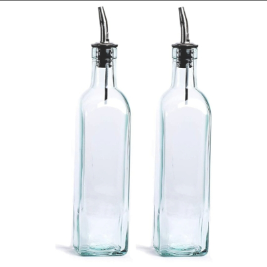Glass Oil Bottle with Dispenser - 750 ml Capacity - Set of 2