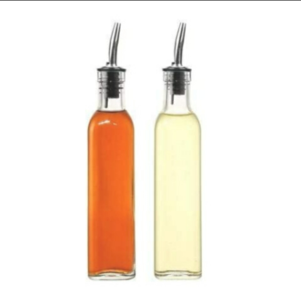 Glass Oil Bottle with Dispenser - 750 ml Capacity - Set of 2