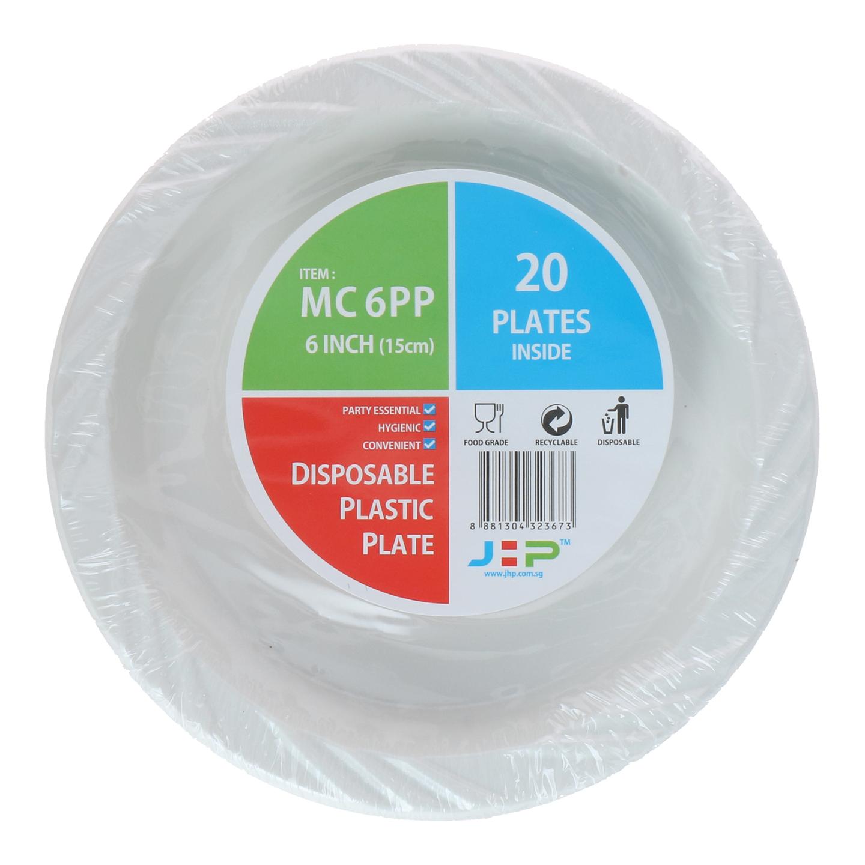 6 MC 6PP White Plastic Plate 塑料盘白 Top View