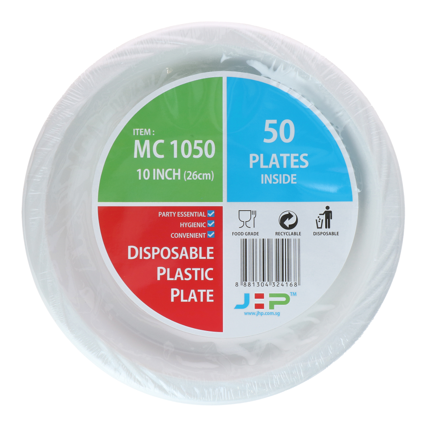 10 MC 1050 White Plastic Plate 塑料盘