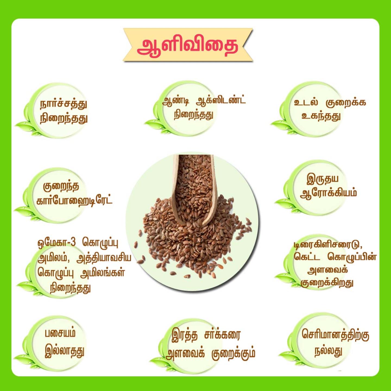 nalAmudhu Flax Seeds Alli Vidai (ஆளி விதை)