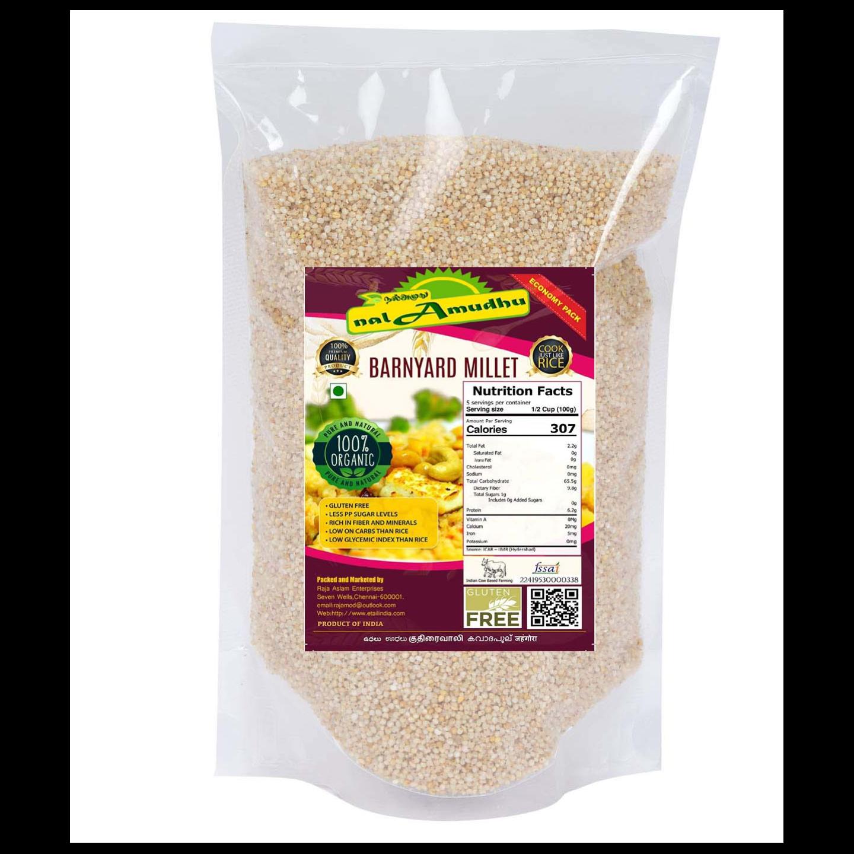 nalAmudhu Organic Barnyard Millet (kuthiraivali/Udhalu/sanwa/kodisama)