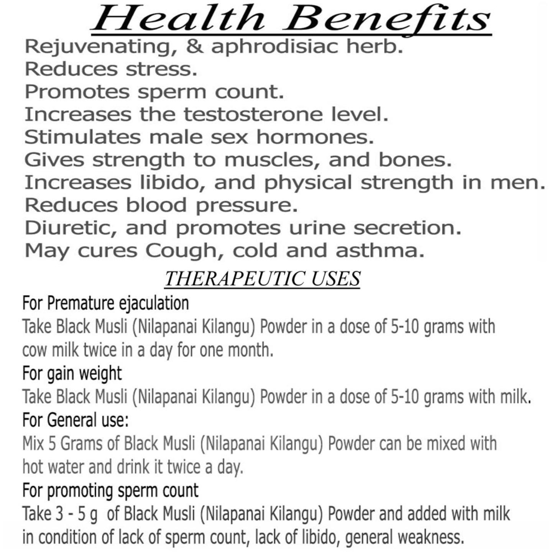 nalAmudhu Nilapanai Kilangu Powder | Curculigo Orchioides Gaertn | Black Musli