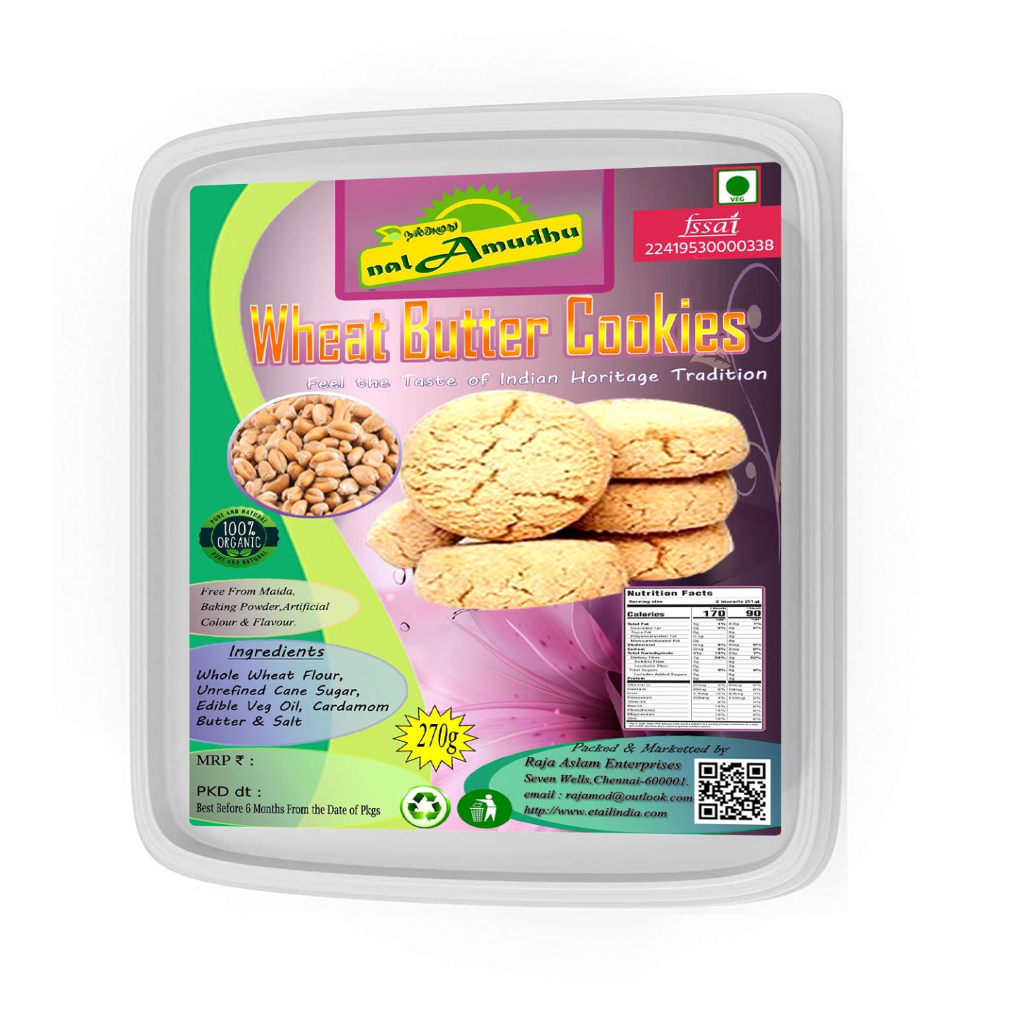 nalAmudhu Organic Wheat Butter Cookies
