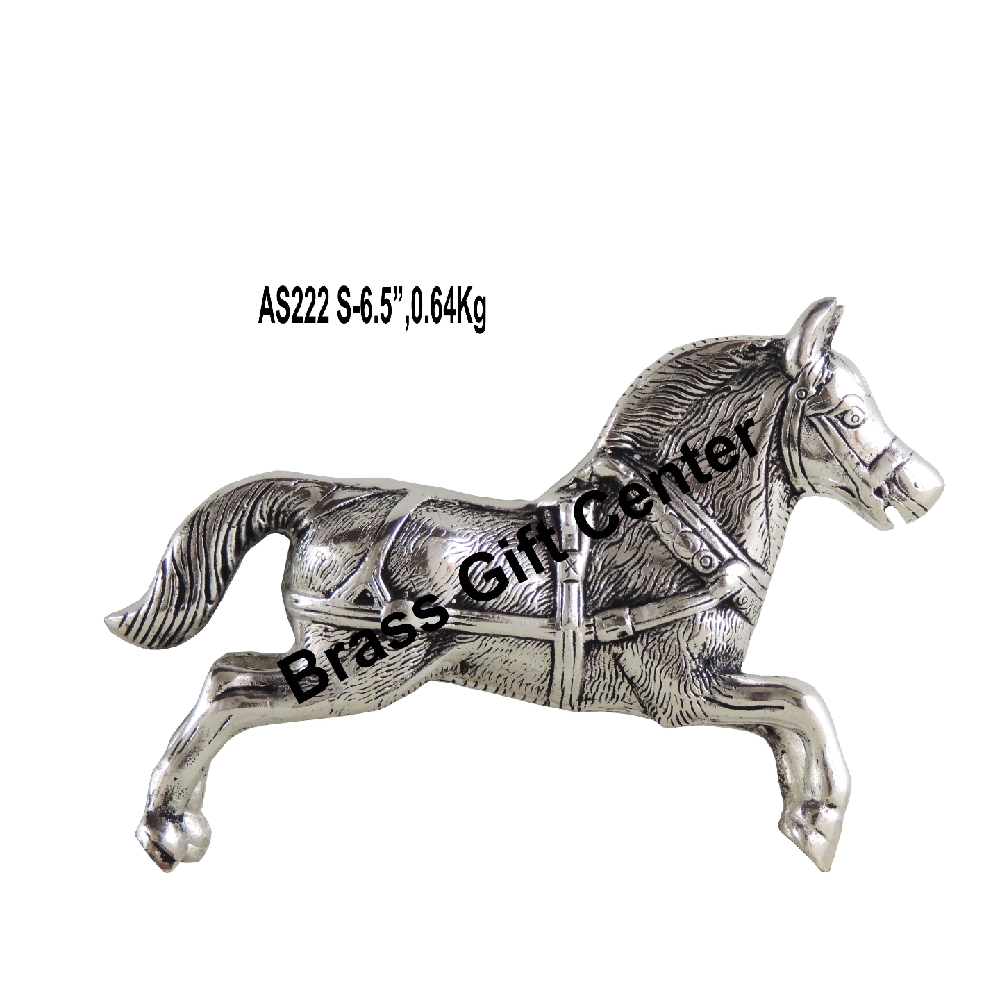 Metallic Running Horse Decorative Showpiece In Silver Antique Finish - 9.6*2.5*6.5 Inch (AS222 S)