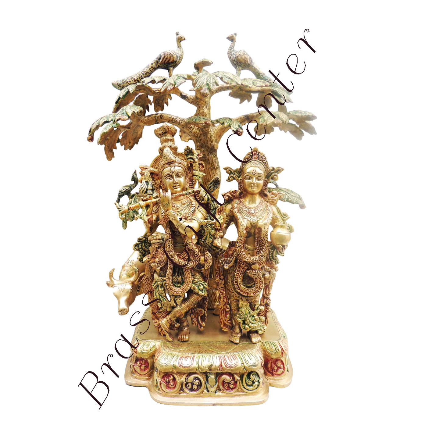 Brass Radha Krishna Cow Under Tree Staute Idol Murti in Multicolour lacquer finish- 17.5*10*24 Inch  (BS500)