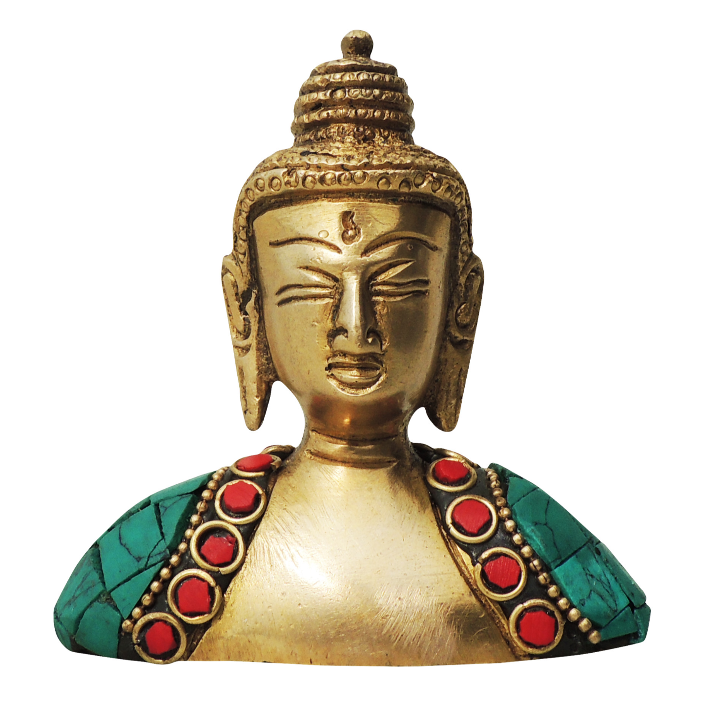 Brass Buddha Head studded with Turquoise Coral stone work - 3*1*3.5 Inch  (BS840 A)