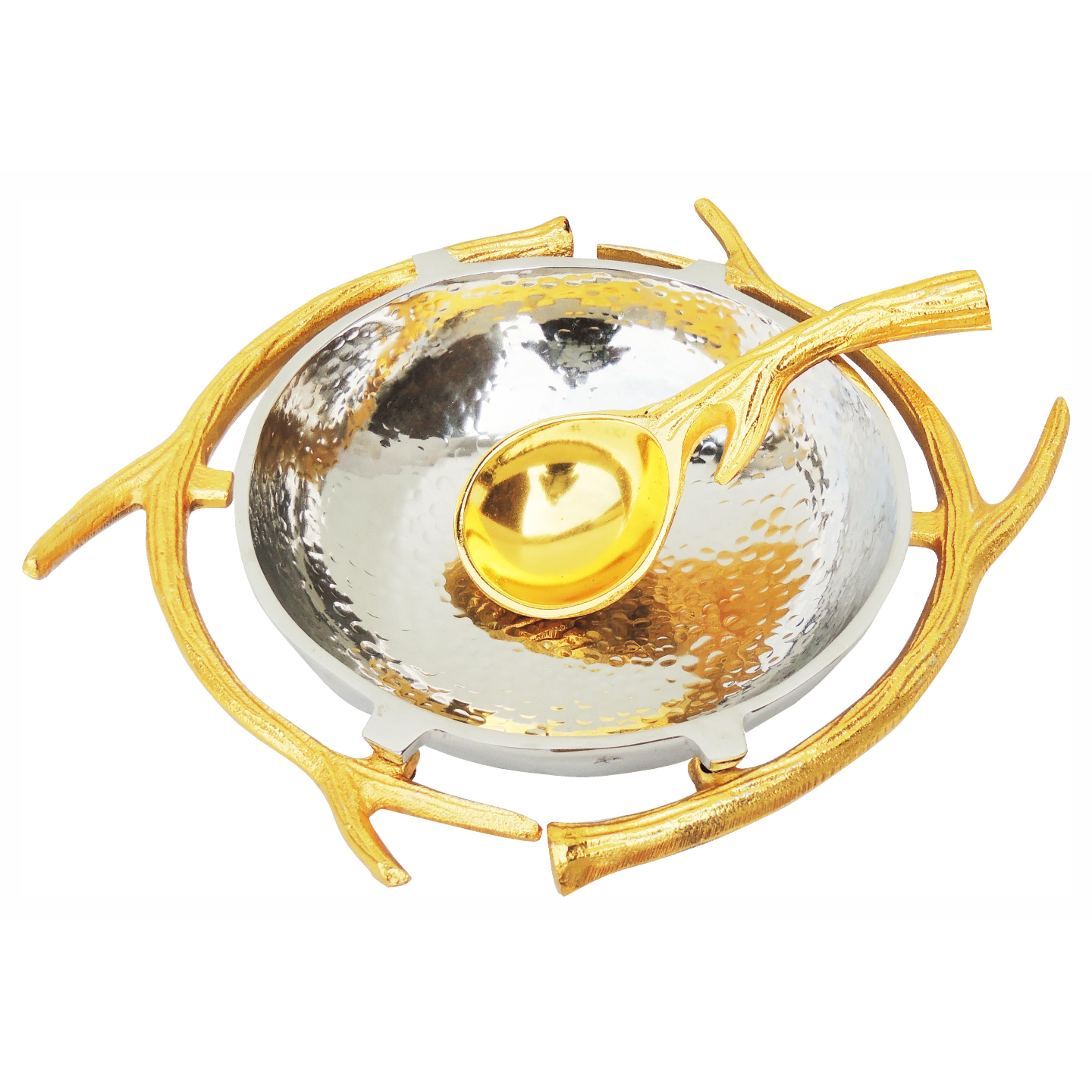 Aluminium Metal Bowl with Spoon in Nickel and Gold Finish - 1212 Inch  A324712