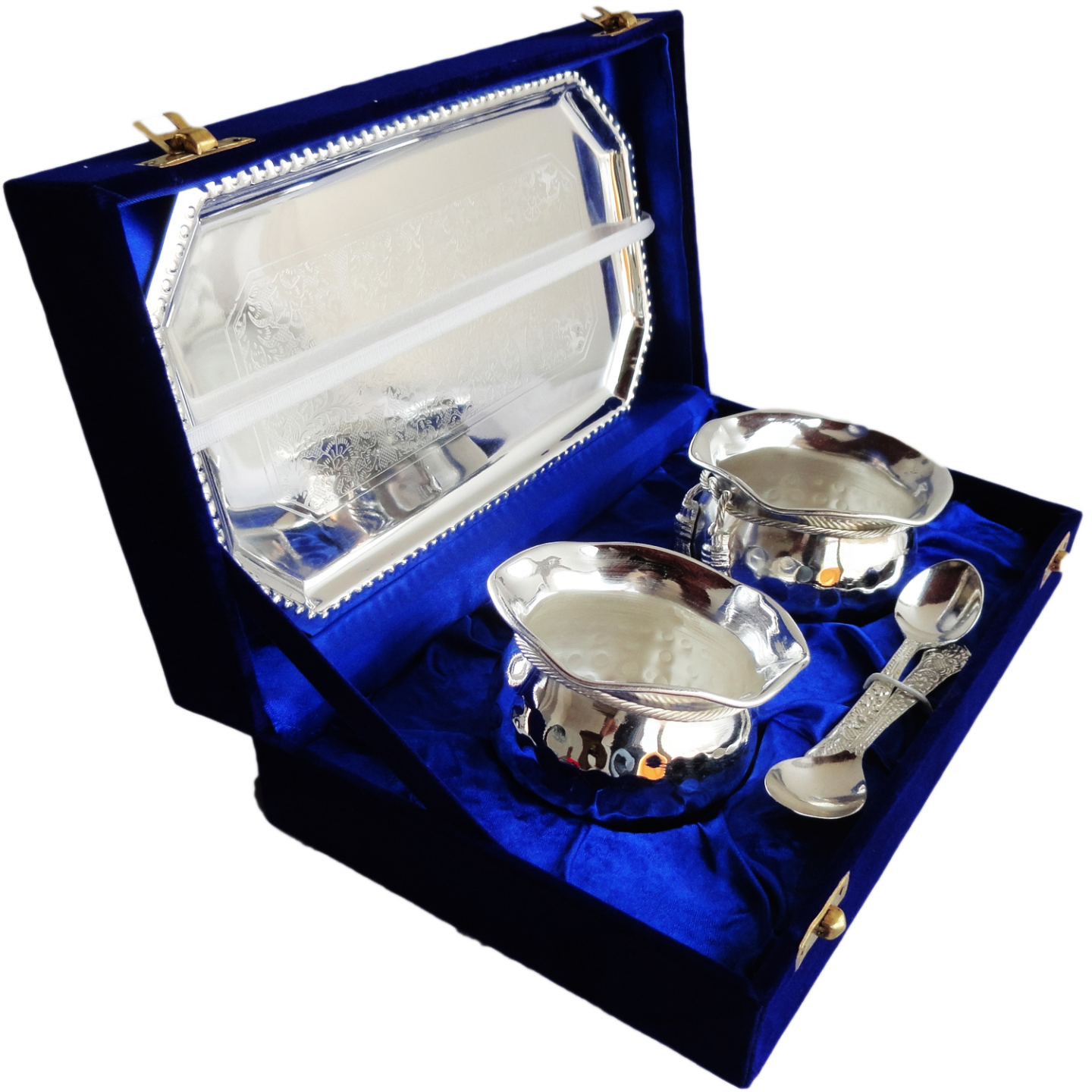 Brass Tie Bowl Set With Silver plating Packed In Velvet Box - 3.53.52.5 Inch  B014
