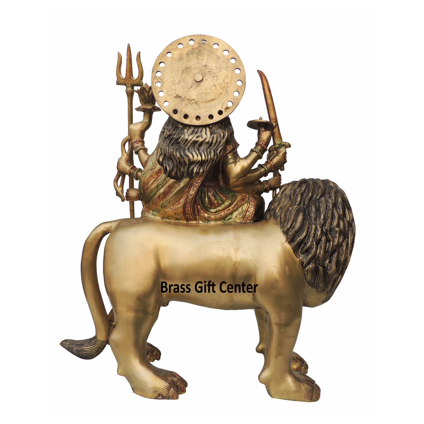 Brass Temple Durga Ji With Color Lacquer Finish - 22.5 Inch (BS1217 A)