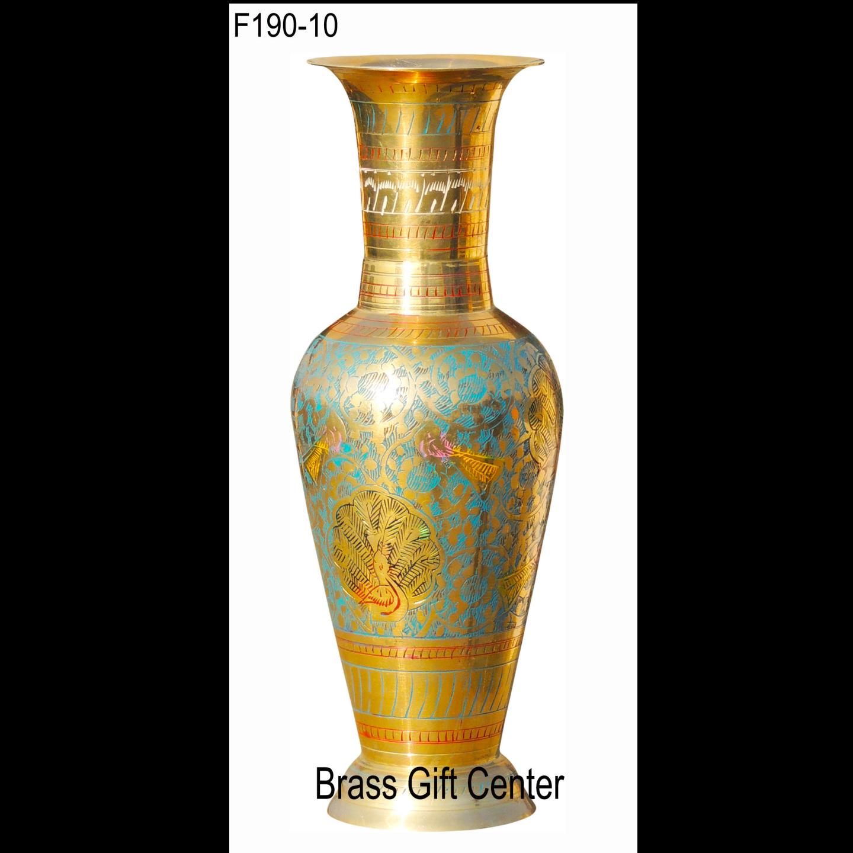 Brass Coloured Flower Vase with handwork - 3.5*3.5*10 Inch  (F190)