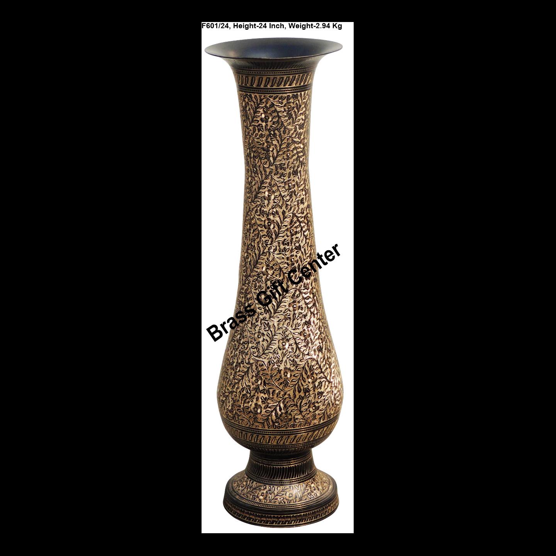 Brass Coloured Flower Vase with handwork - 6.7*6.7*24 Inch  (F601/24)