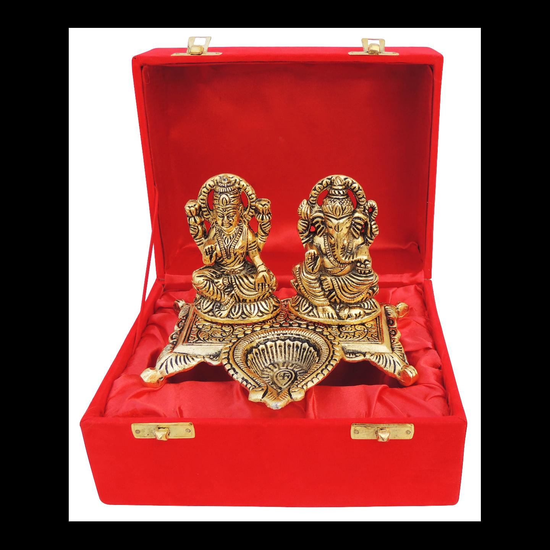 Showpiece Laxmi Ganesh Deepak With Gold Antique Finish - 4.2 Inch AS370 G