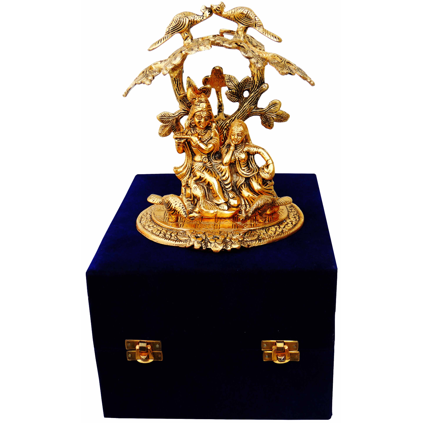 Aluminium Radha Krishna Sitting Under Tree In Gold Antique Finish With Blue Velvet Box - 7.55.58 Inch AS134 G