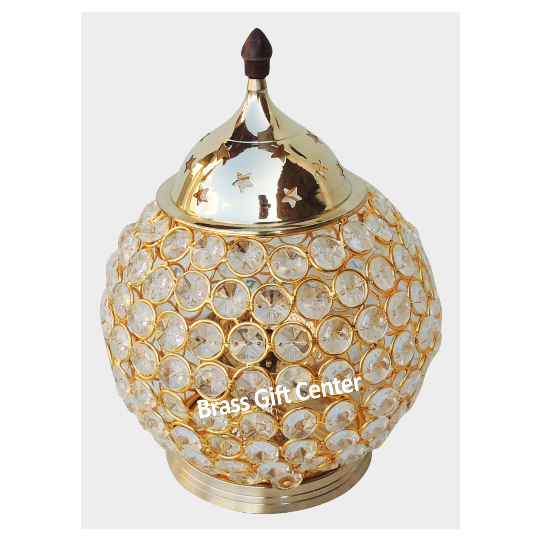 Brass & Iron Crystal Deepak - 8.3 Inch (F672 E)