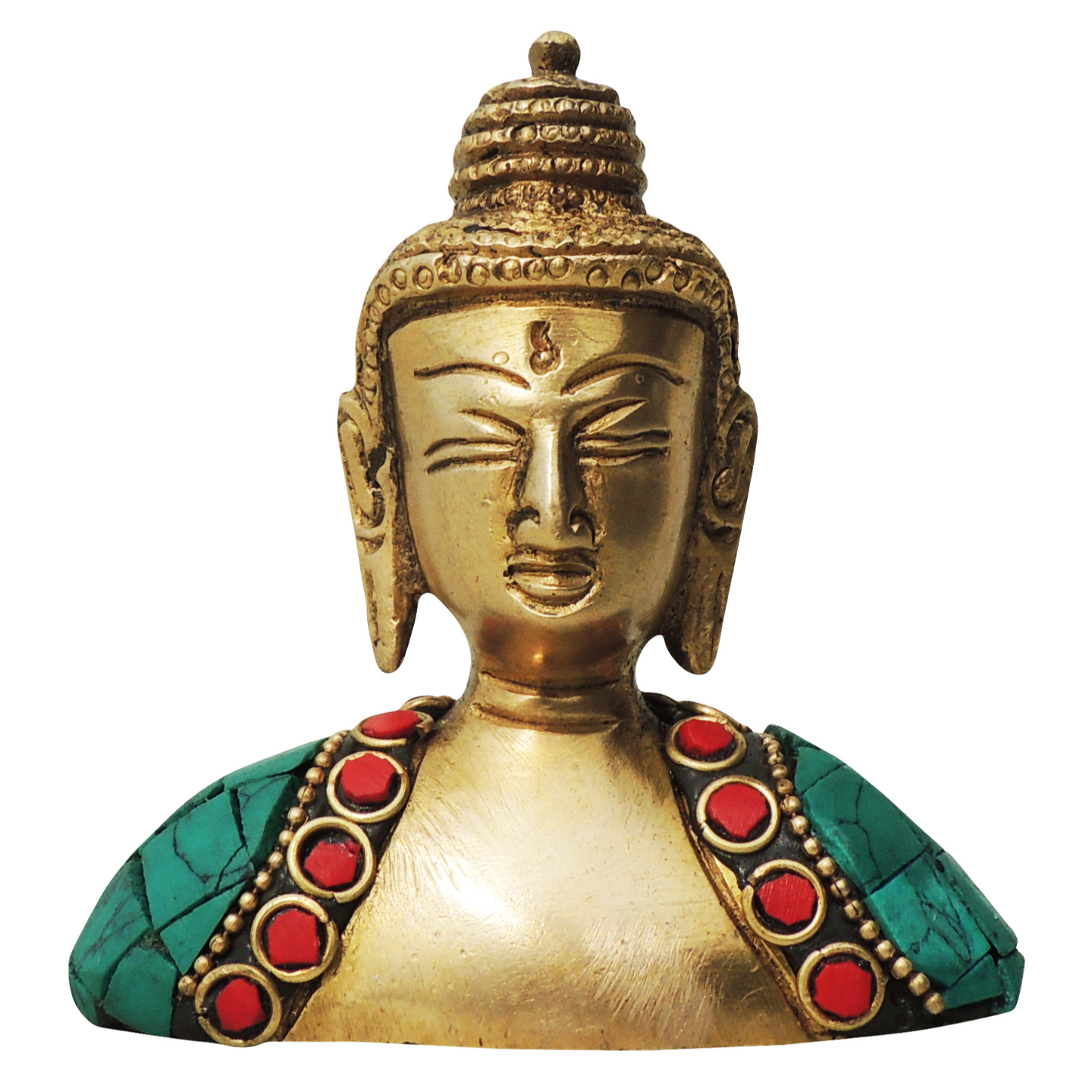 Brass Buddha Head studded with Turquoise Coral stone work - 313.5 Inch  BS840 A