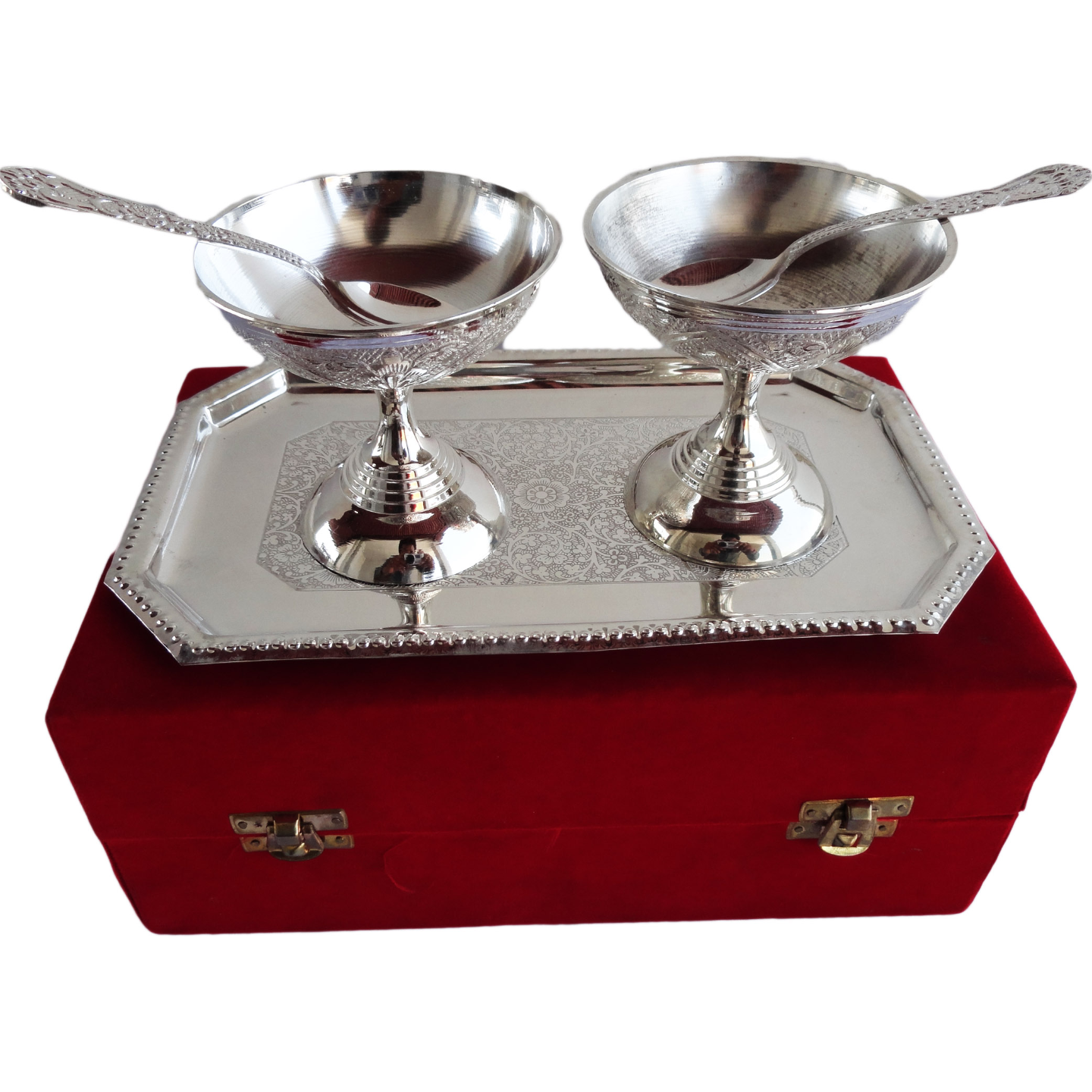 Brass Ice Cream Bowl Set In Silver Pating Packed In Red Velvet Box - 3.5*3.5*3.5 Inch  (B091)