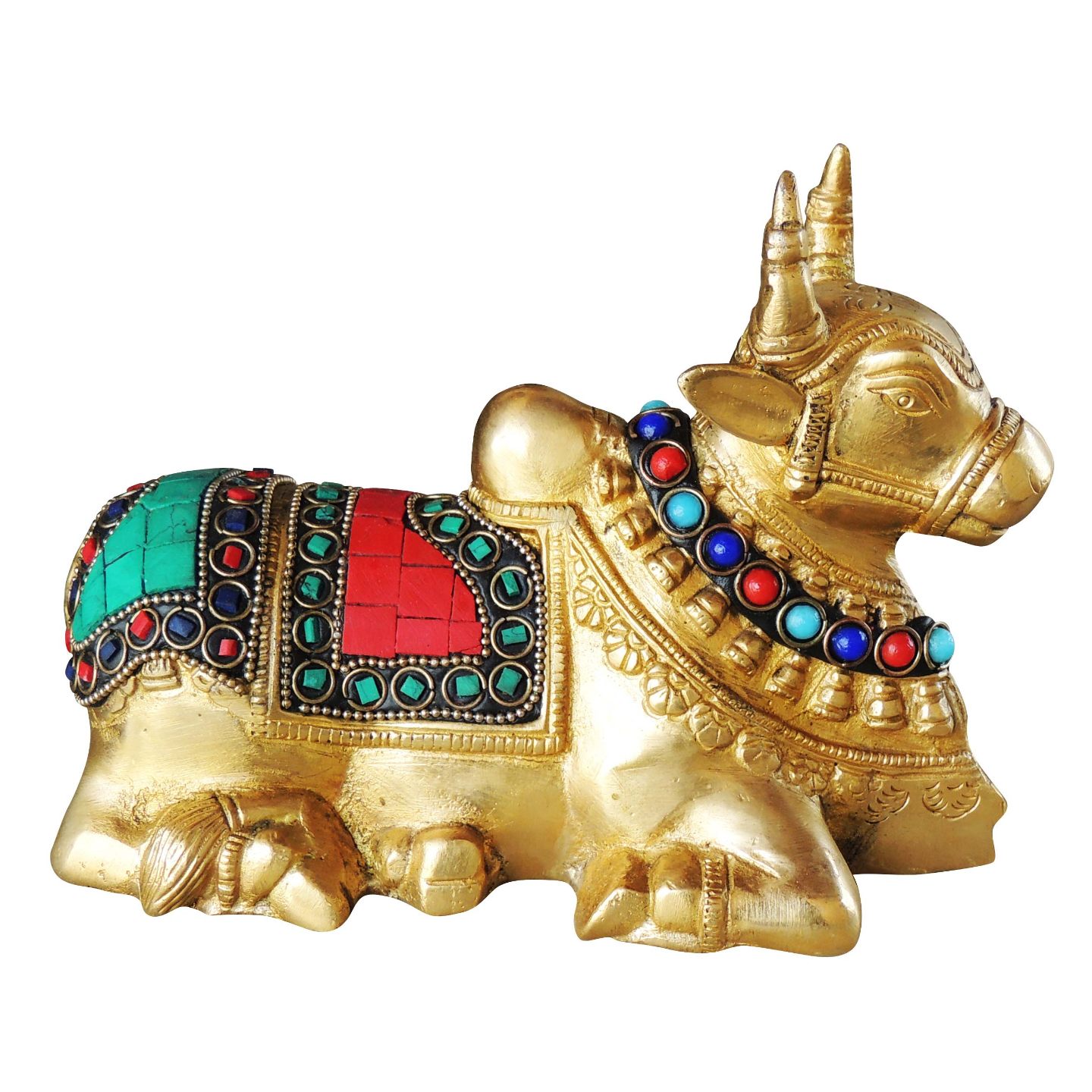 Pure Brass Nandi With Turquoise Coral Stone work - 5 Inch (BS998 A)