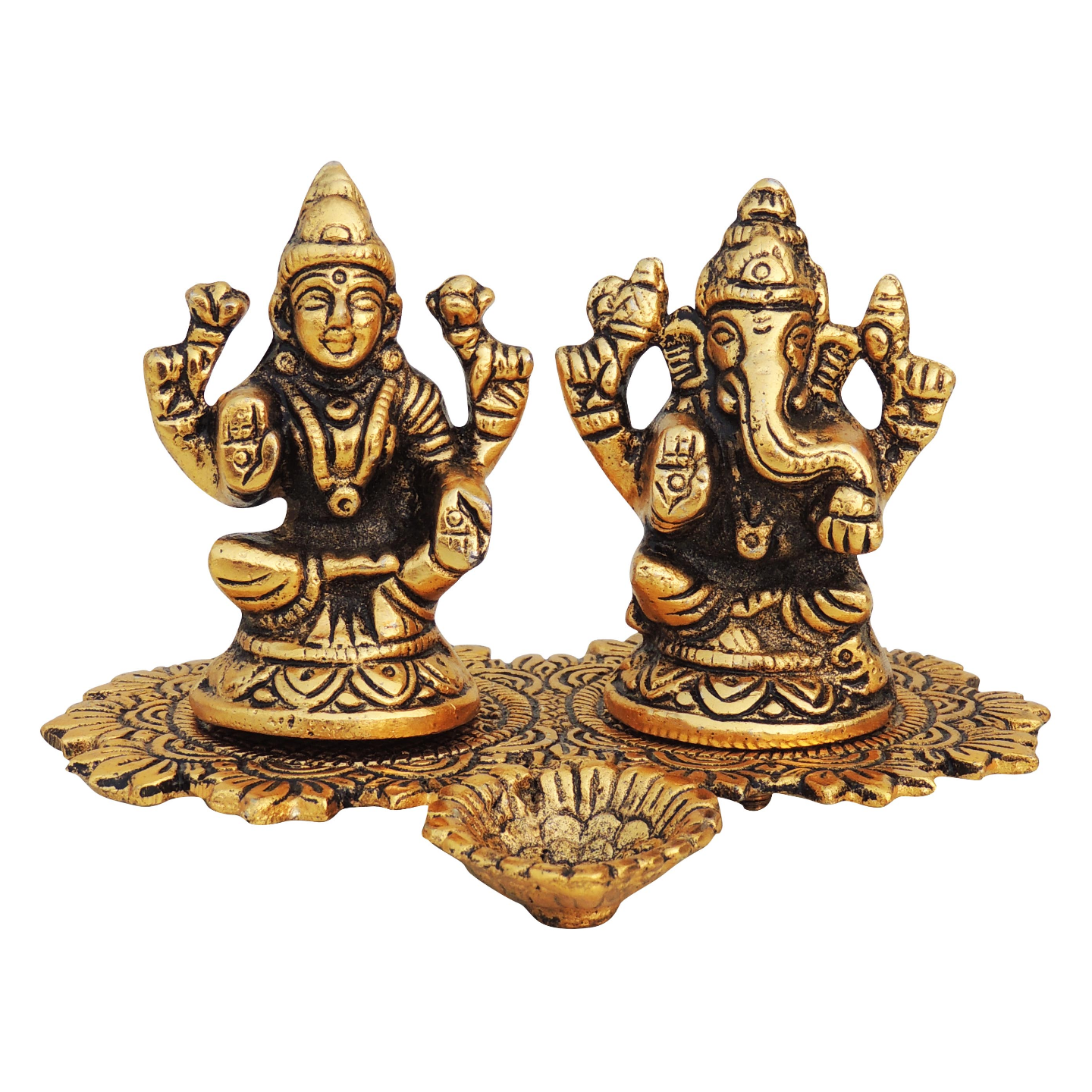 Aluminium Lamxi Ganesh With Attached Deepak - 4 Inch (AS387 G)
