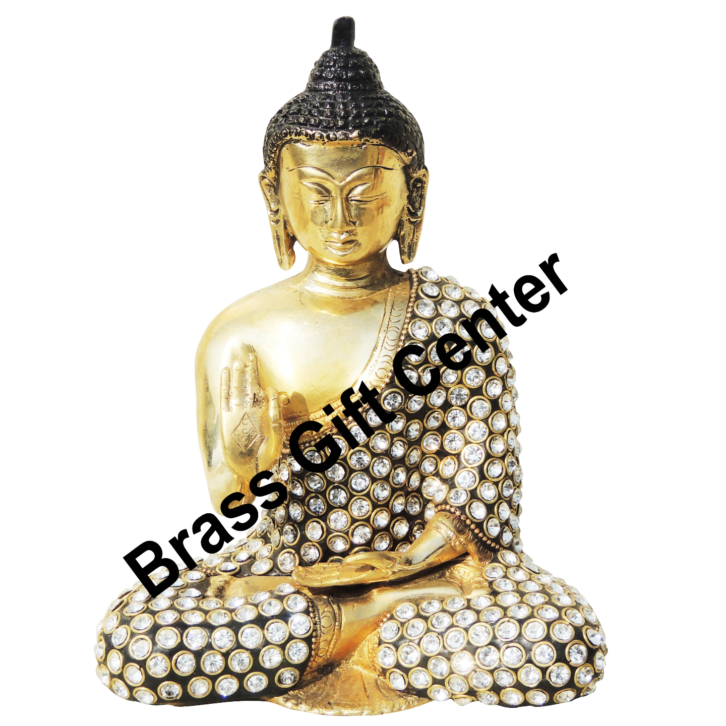 Brass Buddha studded with Turquoise Coral stone work - 62.87.8 Inch  BS909 A