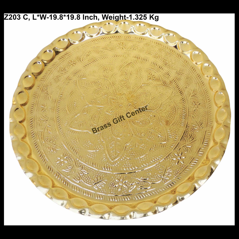 Brass Thali EM _1.32 Kg - 19.8*19.8 Inch  (Z203 C)